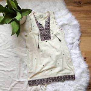 Madewell Embroidered Linen Tank Dress